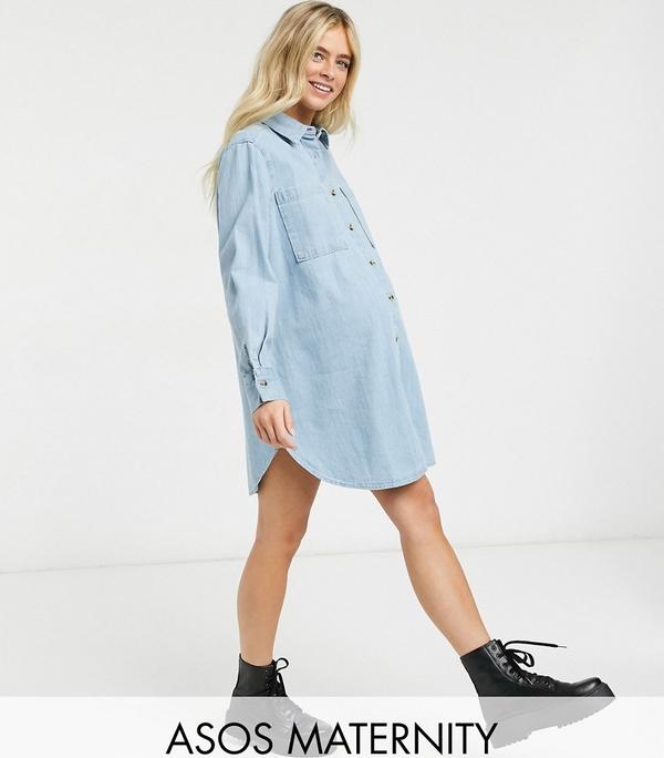 ASOS DESIGN Maternity – Niebieska jeansowa sukienka koszulowa oversize-Niebieski