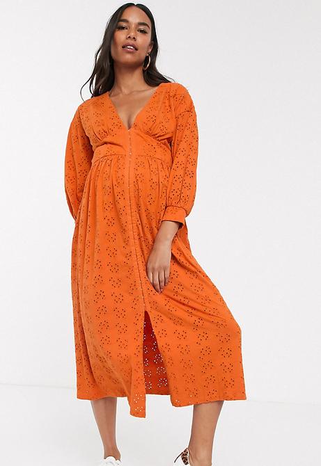 ASOS DESIGN Maternity – Pomarańczowa haftowana sukienka midi z zapięciem na haftki-Pomarańczowy