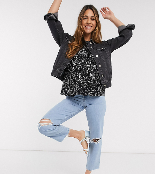 ASOS DESIGN Maternity – Recycled Florence – Niebieskie jeansy z prostymi nogawkami, rozdarciami, surowym wykończeniem i ściągaczem