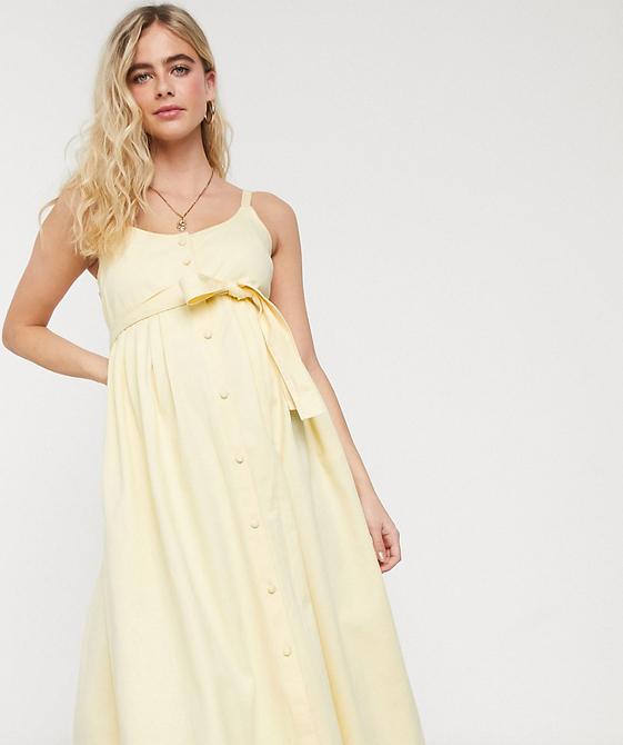 ASOS DESIGN Maternity – Sukienka midi z miękkiego denimu-Zielony