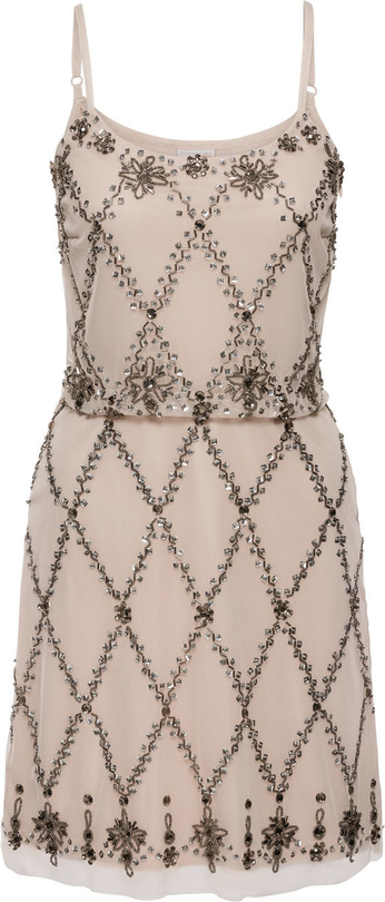 Beżowa sukienka bonprix bodyflirt boutique midi trapezowa