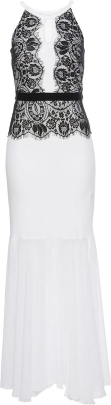 Biała sukienka bonprix bodyflirt boutique w koronkowe wzory na bal