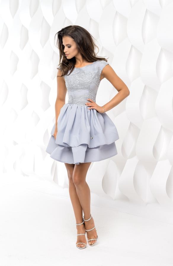 ebcf7ea56b Bicotone bico sukienka mini koronkowa rozkloszowana szara