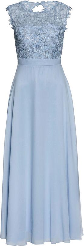 Błękitna sukienka bonprix bpc selection premium z krótkim rękawem w stylu glamour z okrągłym dekoltem