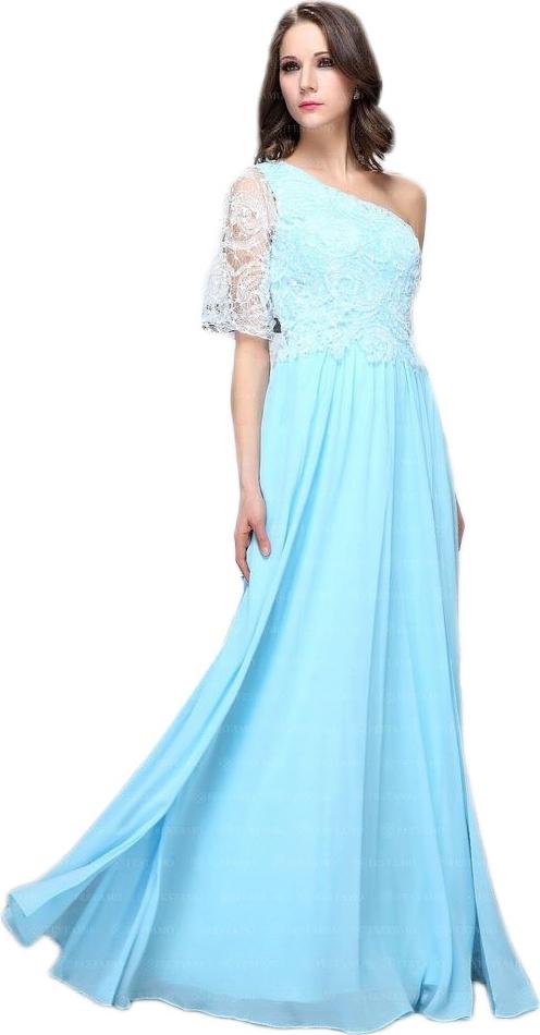 Błękitna sukienka elegrina z krótkim rękawem