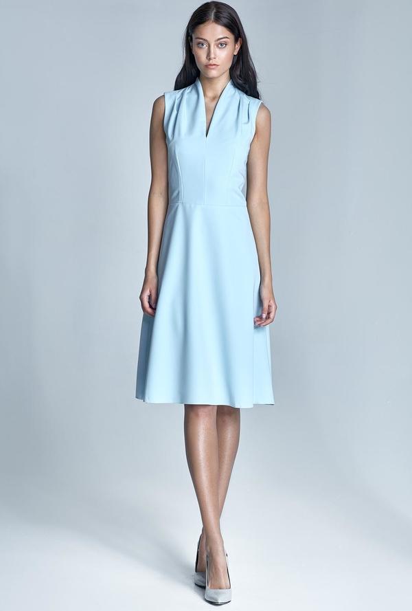 Błękitna sukienka Nife z dekoltem w kształcie litery v