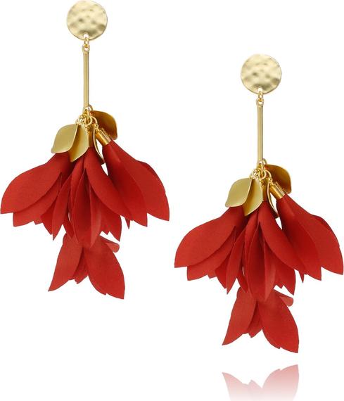BLOSSOM Kolczyki satynowe kwiaty - ceglasty KBL0153