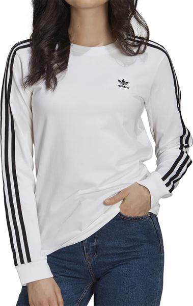 Bluzka Adidas z długim rękawem z okrągłym dekoltem z bawełny