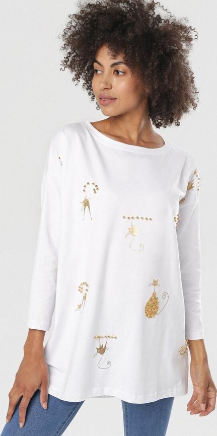 Bluzka born2be w stylu casual z okrągłym dekoltem z długim rękawem