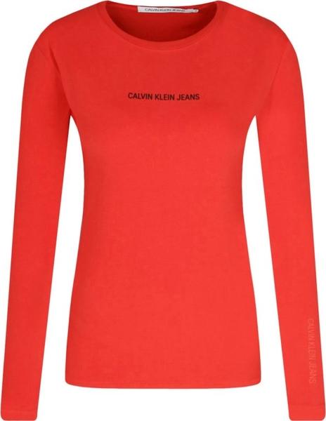 Bluzka Calvin Klein z długim rękawem w młodzieżowym stylu z okrągłym dekoltem