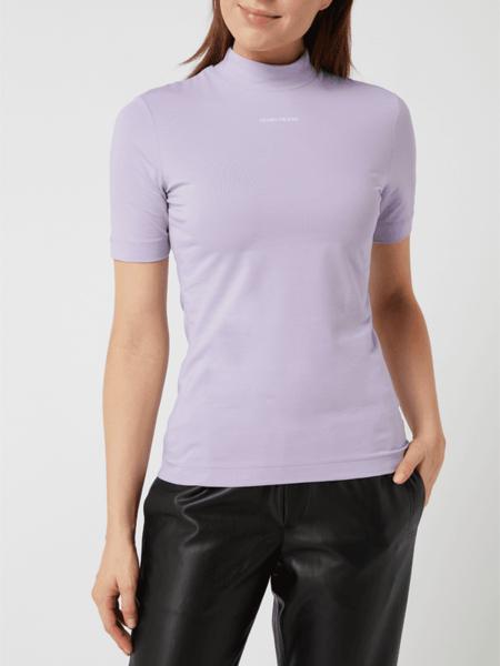 Bluzka Calvin Klein z krótkim rękawem z okrągłym dekoltem z bawełny