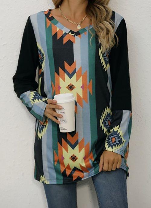 Bluzka Cikelly z długim rękawem w stylu casual w geometryczne wzory