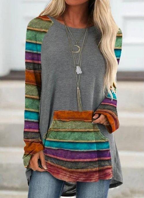 Bluzka Cikelly z długim rękawem w stylu casual z okrągłym dekoltem