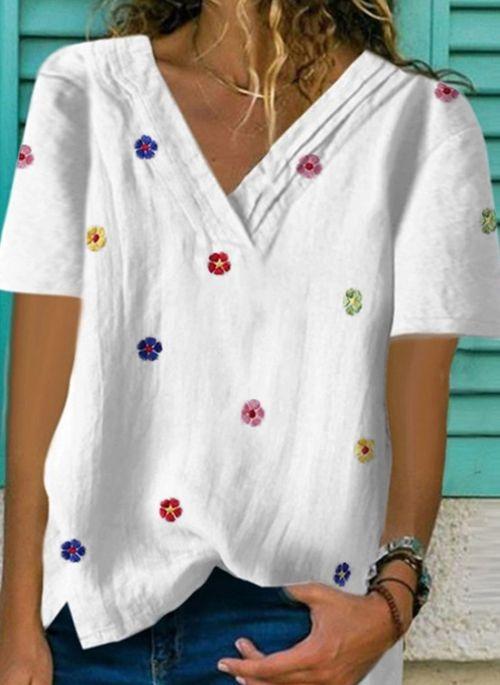 Bluzka Cikelly z krótkim rękawem z bawełny z dekoltem w kształcie litery v