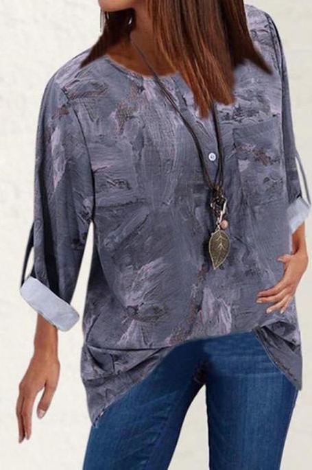 Bluzka Cikelly z okrągłym dekoltem z długim rękawem w stylu casual