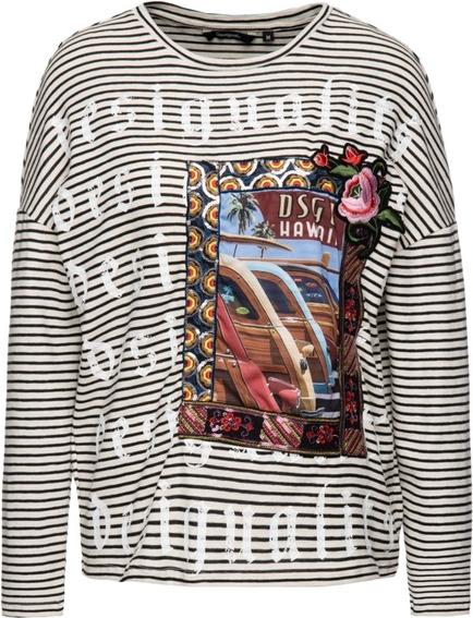 Bluzka Desigual w młodzieżowym stylu z okrągłym dekoltem