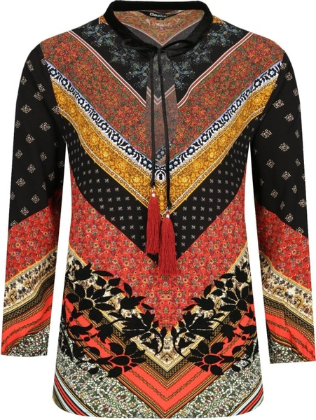 Bluzka Desigual z długim rękawem ze sznurowanym dekoltem