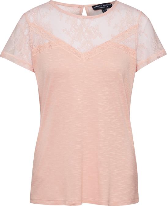 Bluzka Dorothy Perkins z krótkim rękawem w stylu glamour z okrągłym dekoltem