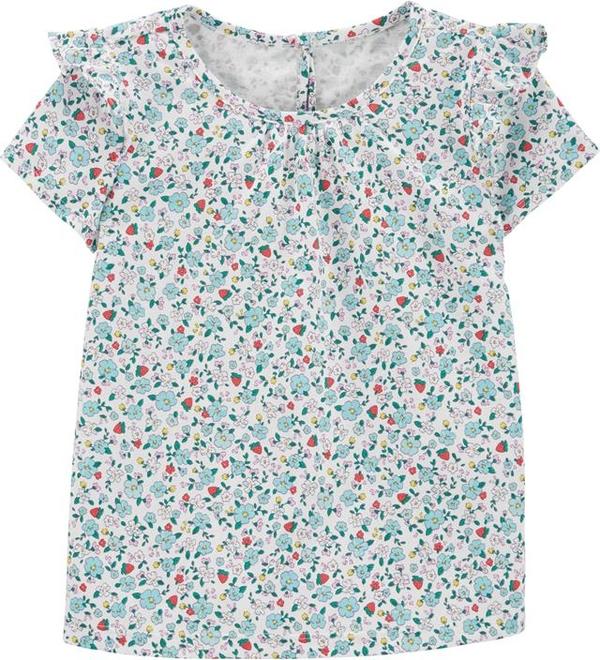 Bluzka dziecięca OshKosh z bawełny w kwiatki z krótkim rękawem