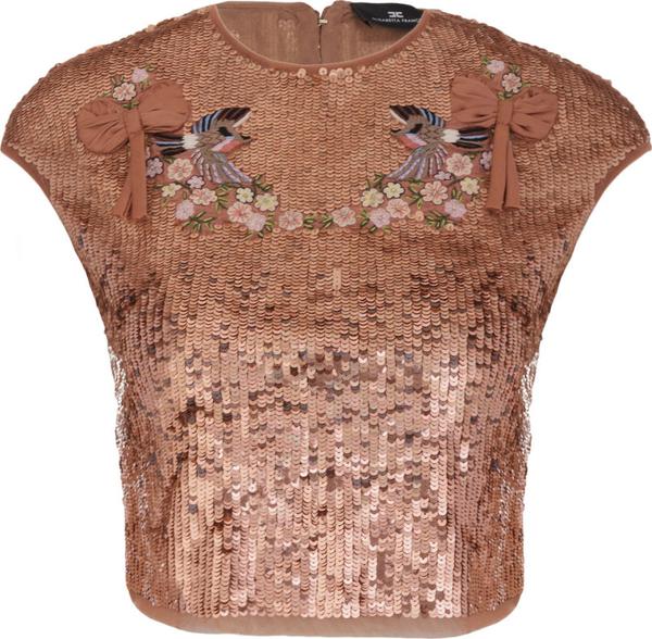 Bluzka Elisabetta Franchi z krótkim rękawem z okrągłym dekoltem w stylu glamour