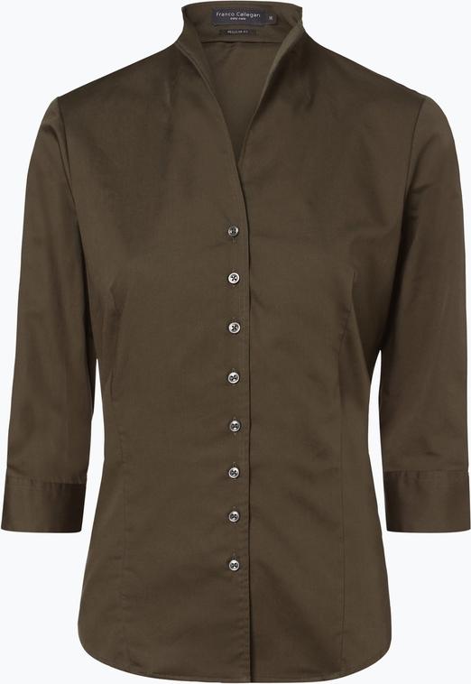 Bluzka Franco Callegari z tkaniny z dekoltem w kształcie litery v z długim rękawem