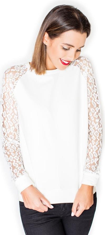 Bluzka Katrus z długim rękawem z bawełny z okrągłym dekoltem