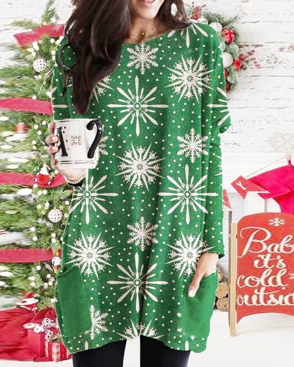 Bluzka Kendallme z długim rękawem w bożonarodzeniowy wzór
