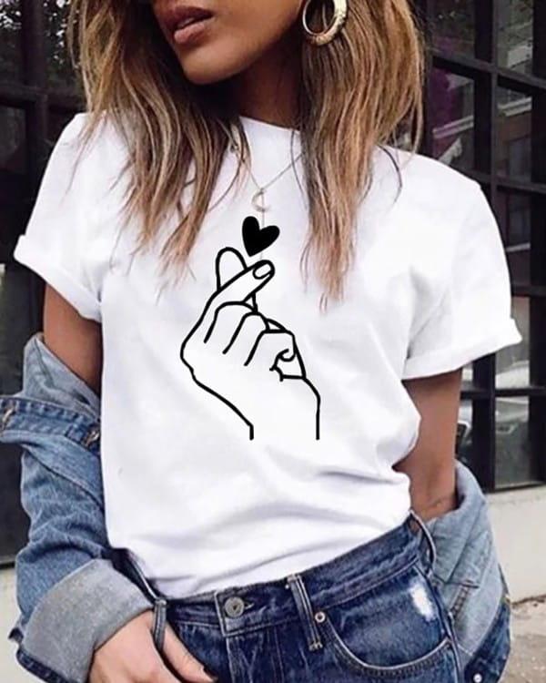 Bluzka Kendallme z okrągłym dekoltem w młodzieżowym stylu