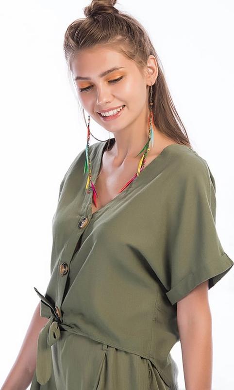 Bluzka Kobiecy Szyk z dekoltem w kształcie litery v