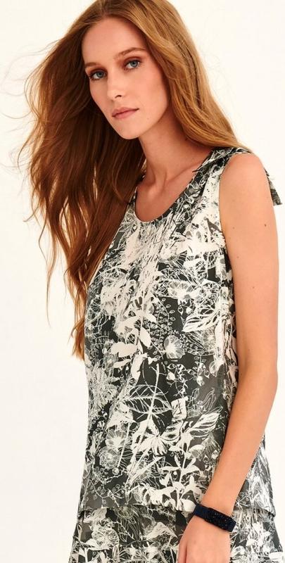 Bluzka Larime w stylu boho z tkaniny z okrągłym dekoltem