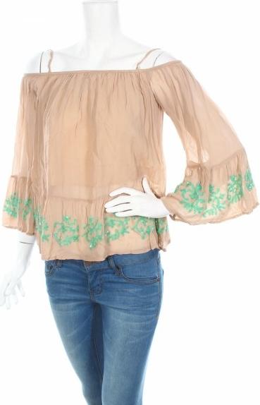 Bluzka Miss June w stylu boho z długim rękawem hiszpanka