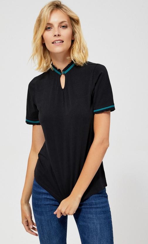 Bluzka Moodo z krótkim rękawem w stylu casual z okrągłym dekoltem