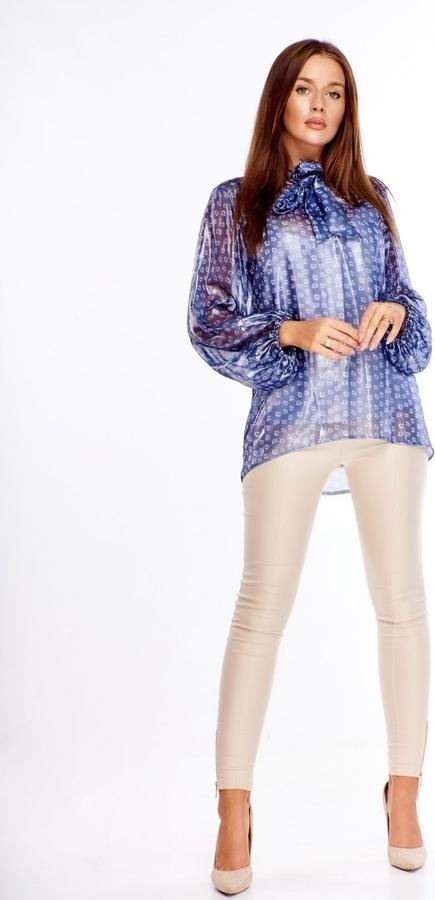 Bluzka omnido.pl w stylu glamour ze sznurowanym dekoltem z długim rękawem