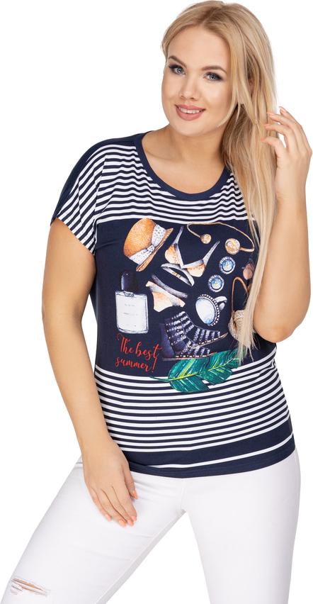 Bluzka Ptakmoda.com z nadrukiem w młodzieżowym stylu z okrągłym dekoltem