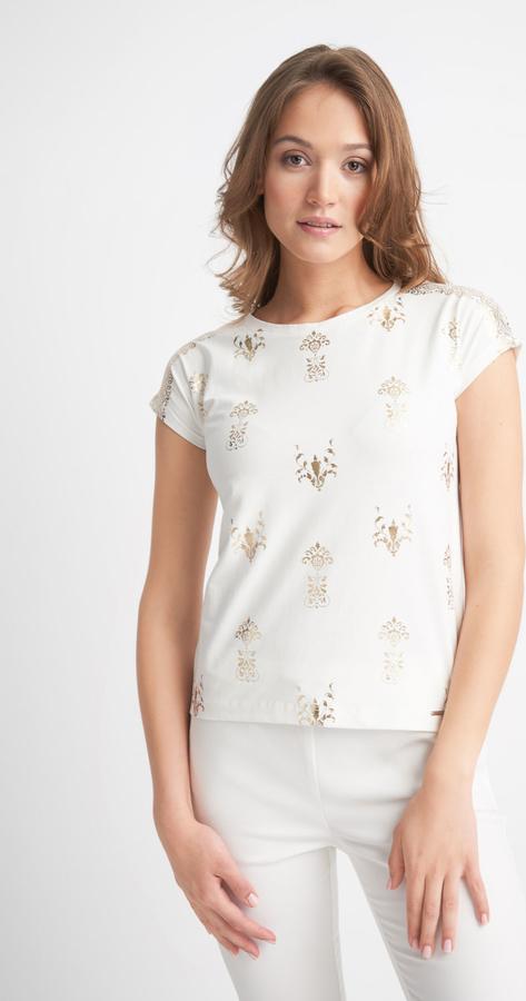 Bluzka QUIOSQUE w stylu casual z okrągłym dekoltem