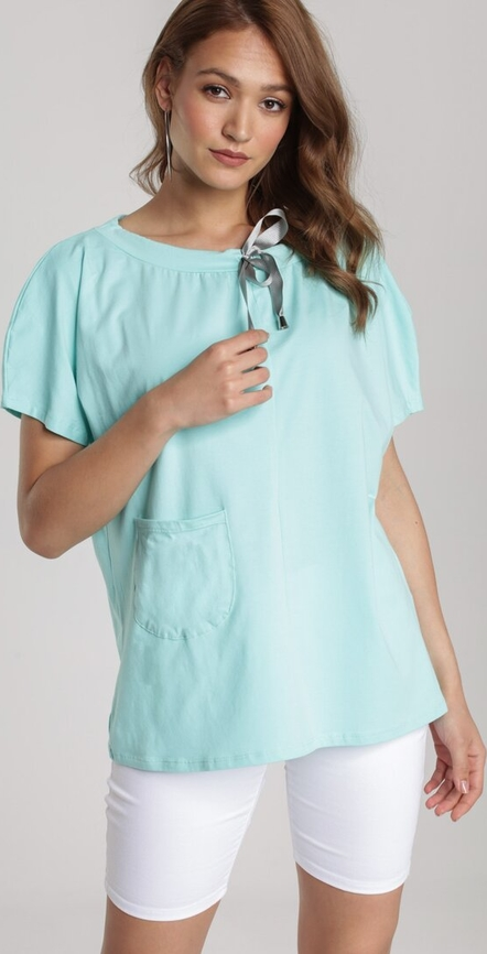 Bluzka Renee z krótkim rękawem z okrągłym dekoltem w stylu casual