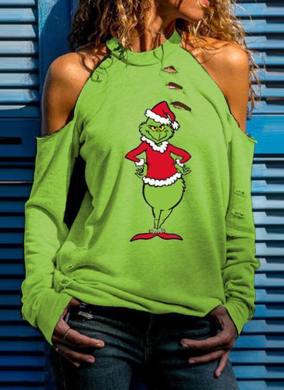 Bluzka Sandbella w bożonarodzeniowy wzór z okrągłym dekoltem z krótkim rękawem