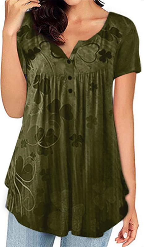 Bluzka Sandbella w militarnym stylu z dekoltem w kształcie litery v z bawełny