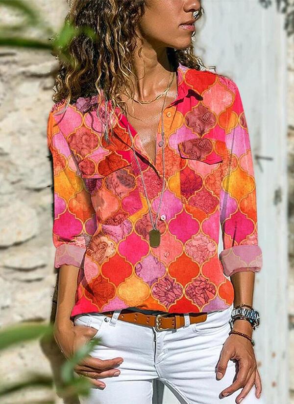Bluzka Sandbella z dekoltem w kształcie litery v z długim rękawem