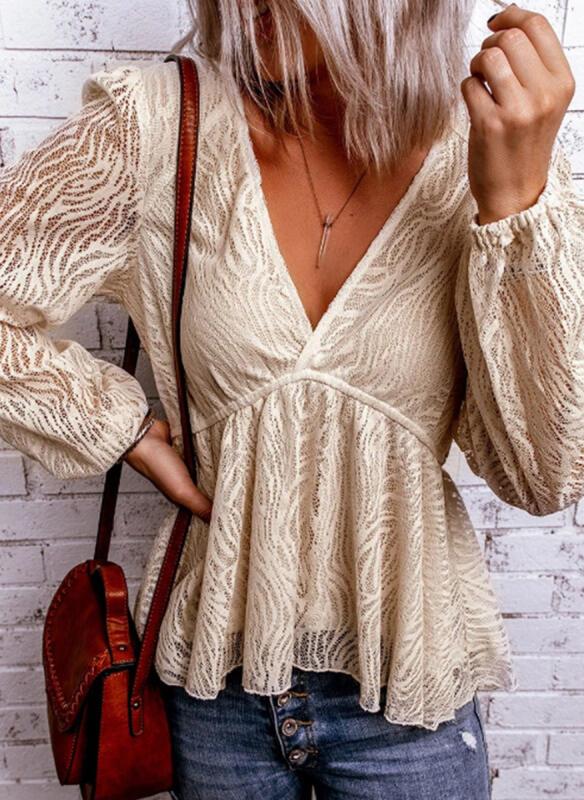 Bluzka Sandbella z długim rękawem w stylu boho z dekoltem w kształcie litery v
