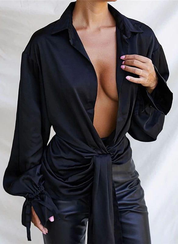 Bluzka Sandbella z długim rękawem z dekoltem w kształcie litery v