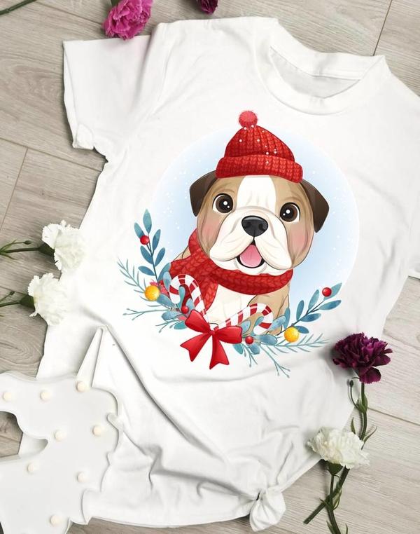 Bluzka Time For Fashion w bożonarodzeniowy wzór z bawełny z okrągłym dekoltem