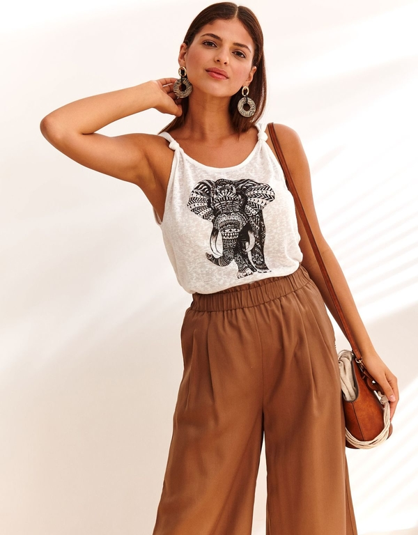 Bluzka Top Secret z okrągłym dekoltem w młodzieżowym stylu