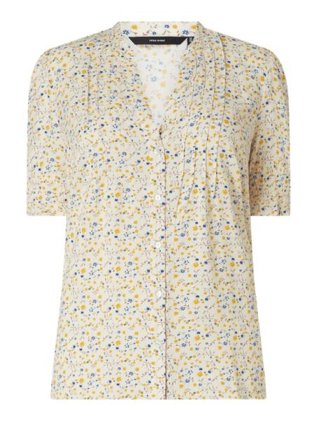 Bluzka Vero Moda z dekoltem w kształcie litery v z krótkim rękawem