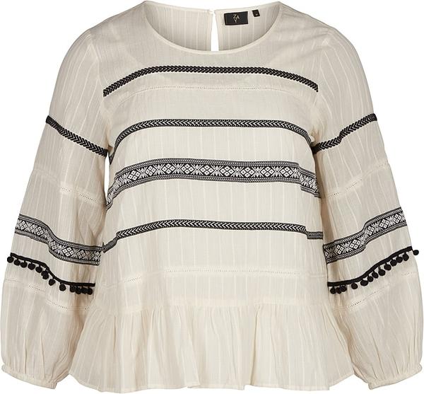 Bluzka Zay z okrągłym dekoltem z bawełny z krótkim rękawem