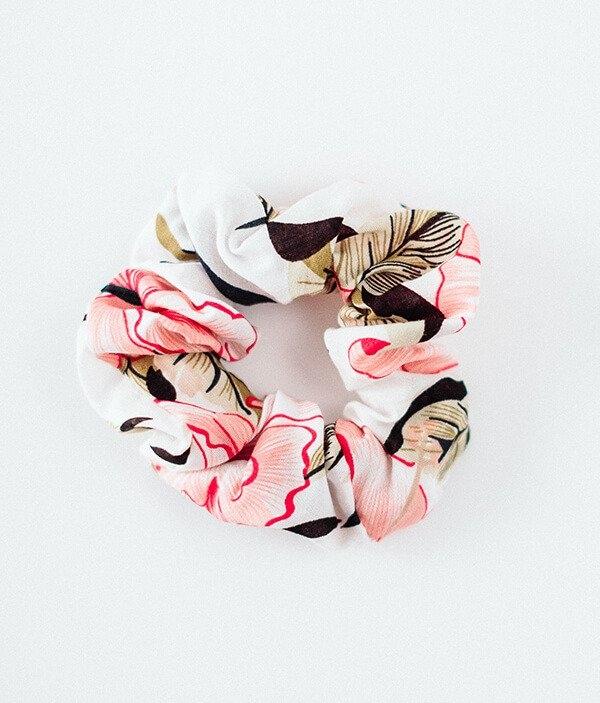 Bohomoss Gumka do włosów - kolorowa z różem, z ozdobną kokardką