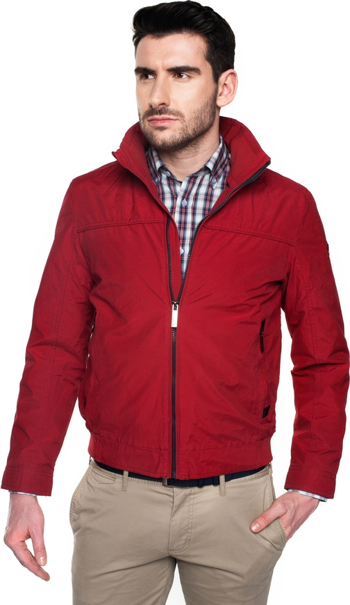 Bordowa kurtka recman bez wzorów