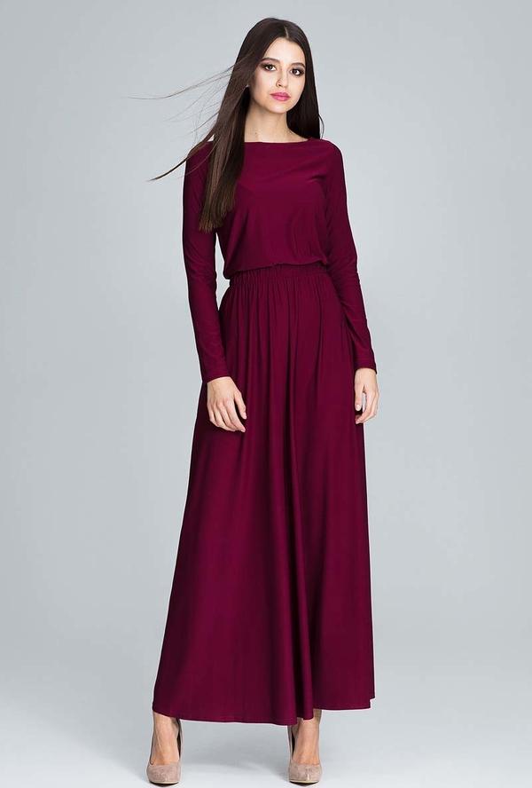 Bordowa sukienka Figl maxi