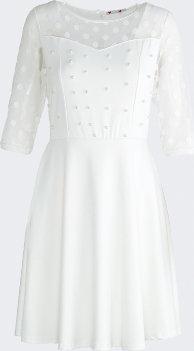 Born2be biała sukienka love dance