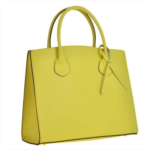Borse in pelle elegancka torebka skórzana limonka typu shopper bag xl